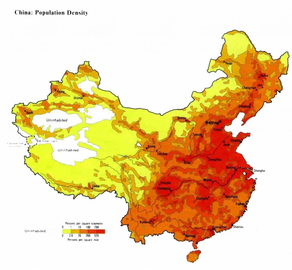 Плотность населения Китая