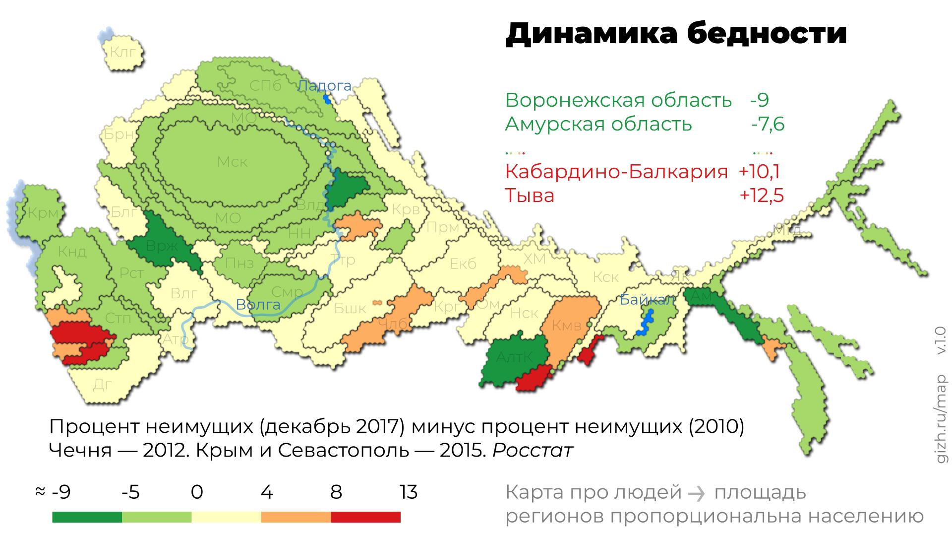 Динамика бедности по регионам. Карта-анаморфоза