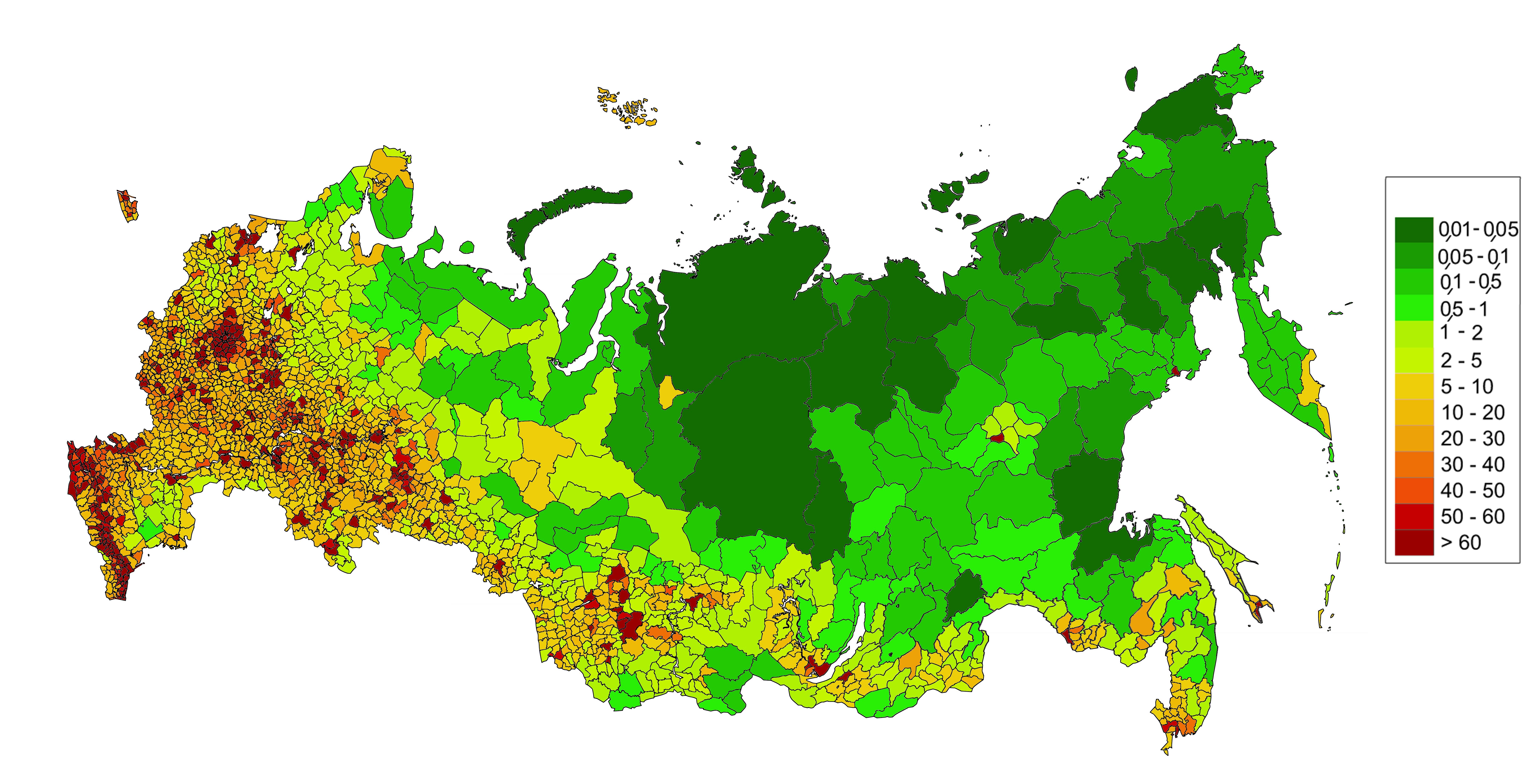 Плотность населения России по муниципальным районам