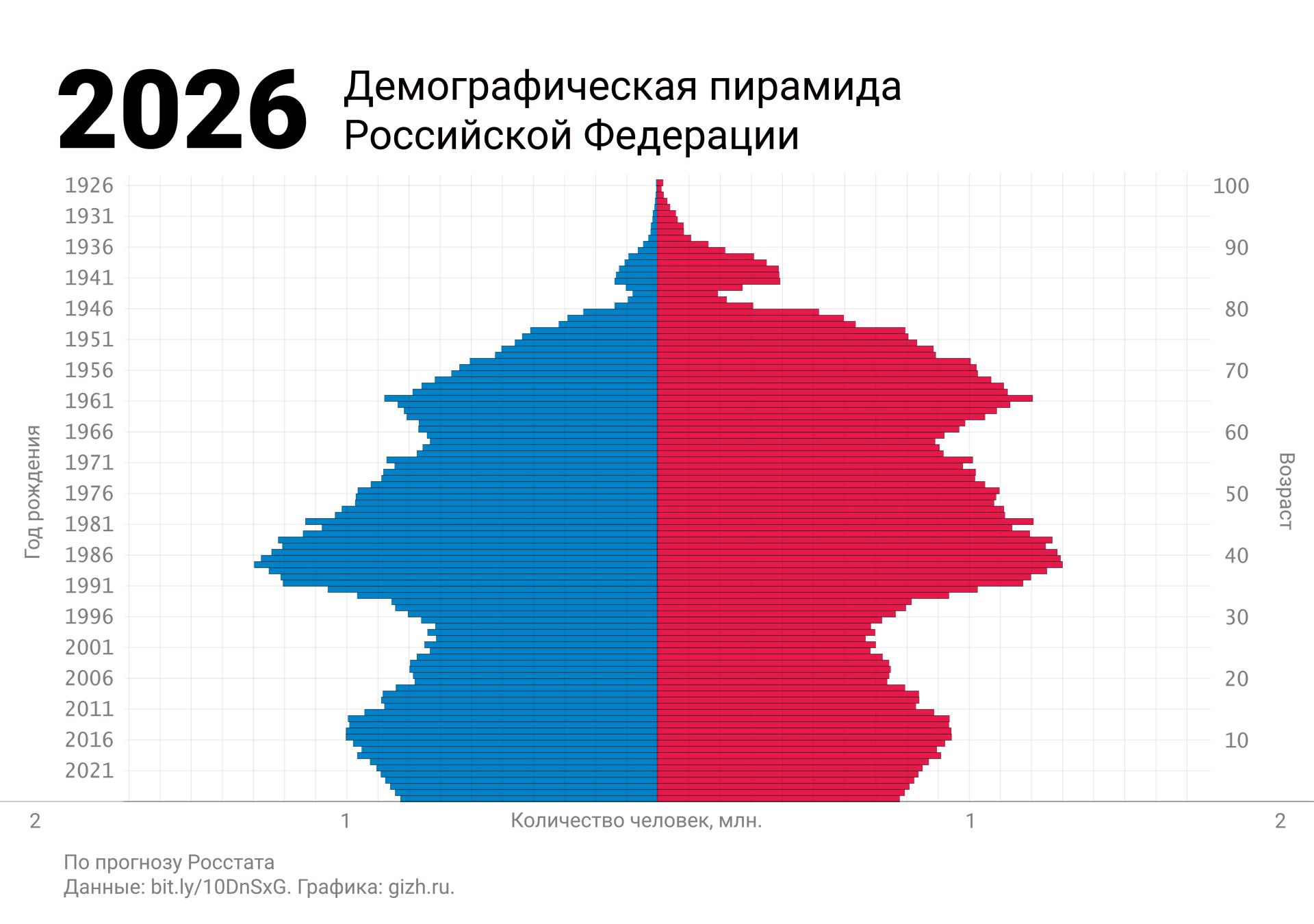 Демографическая (половозрастная) пирамида России 2026 (прогноз)